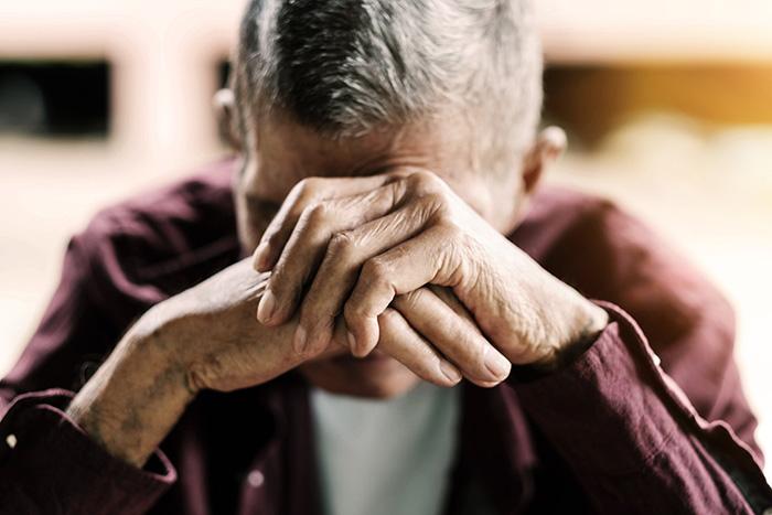 elderly sad