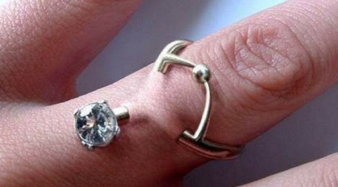 finger pierced wedding ring