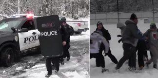 cops snowball fight kids