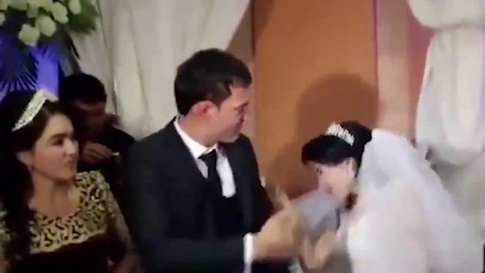 husband slaps bride