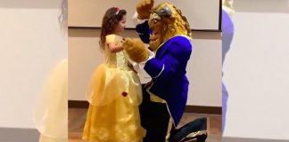 little girl dance with beast dad