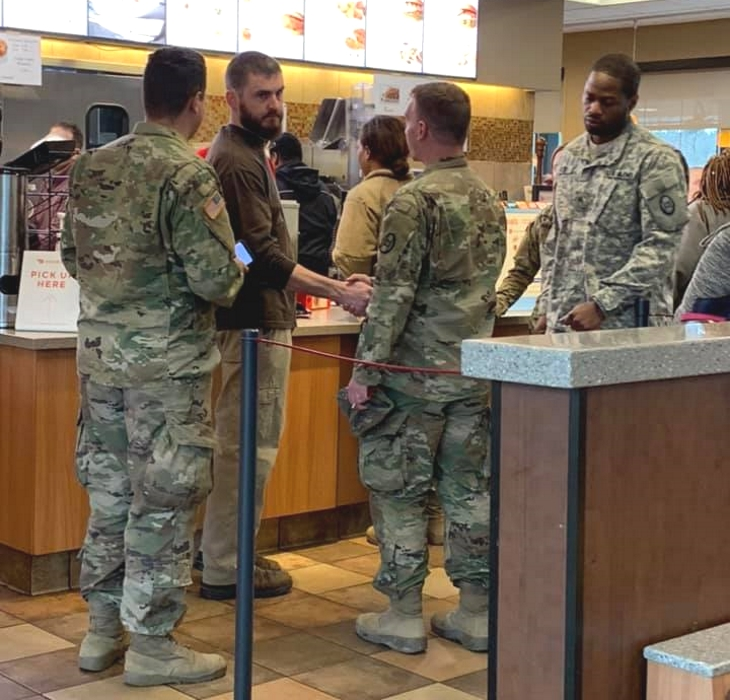 man buys 11 soldiers meals