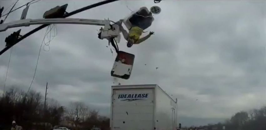 truck sends worker flying collision