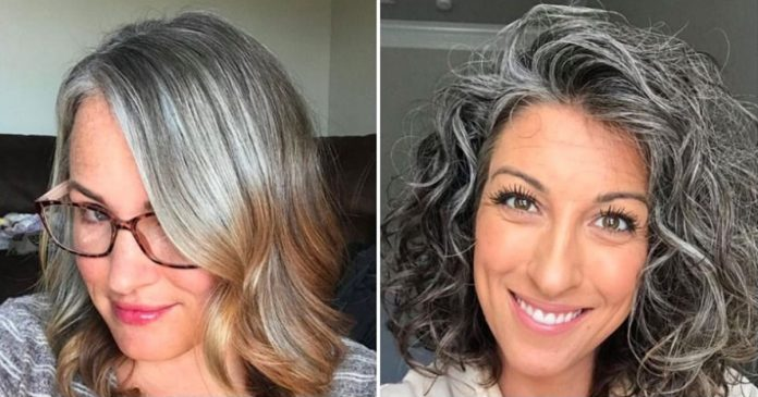 women natural grey hair